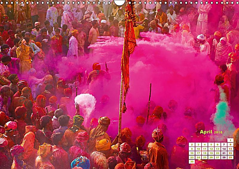 fest der farben holi in indien wandkalender 2018 din a3 quer kalender bestellen. Black Bedroom Furniture Sets. Home Design Ideas