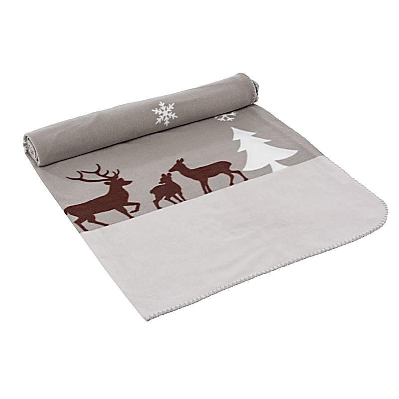 fleecedecke winterwald wei braun grau bestellen. Black Bedroom Furniture Sets. Home Design Ideas