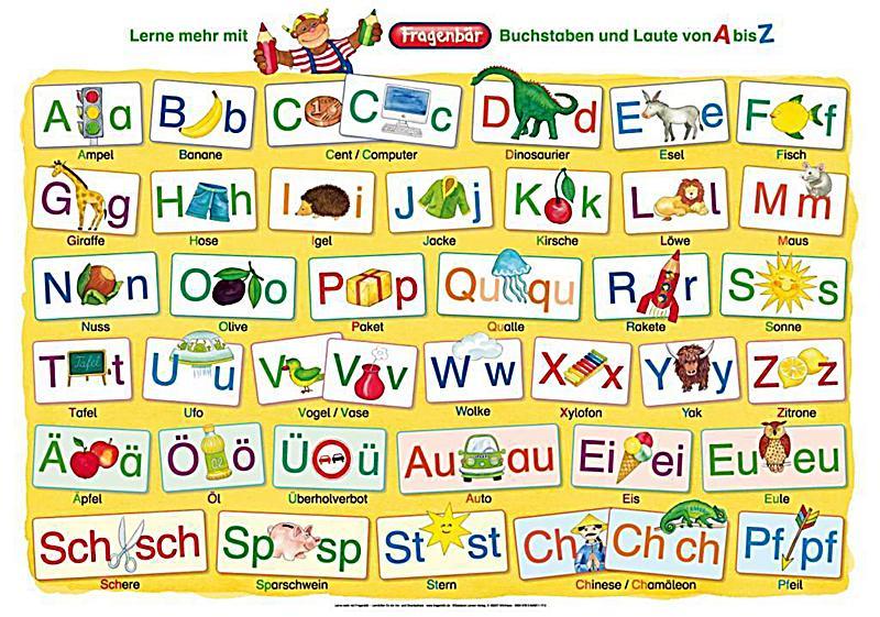 Arbeitsblatt Laute Und Buchstaben : Fragenbär lernposter buchstaben und laute von a bis z