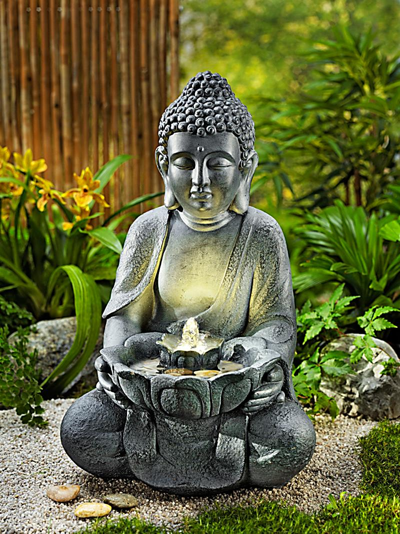 gartenbrunnen buddha mit led beleuchtung bestellen. Black Bedroom Furniture Sets. Home Design Ideas