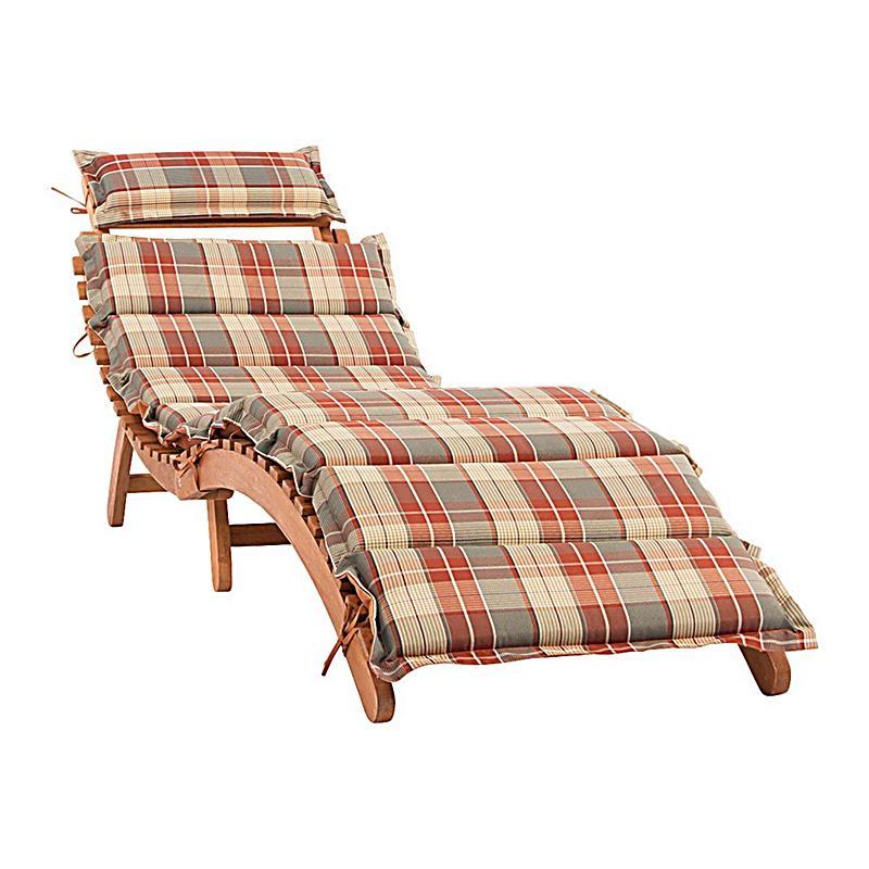 gartenliege verve aus holz inkl auflage kariert. Black Bedroom Furniture Sets. Home Design Ideas