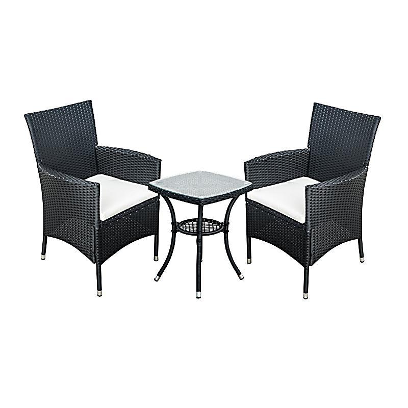 Gartenmöbel Als 3 Teiliges Set (Farbe: Schwarz, Creme)