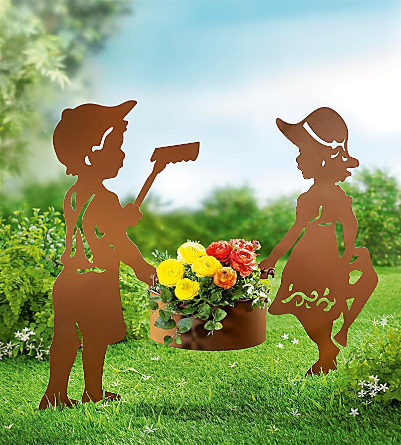 Gartenstecker mit pflanztopf 3 teiliges set for Gartendeko rostoptik