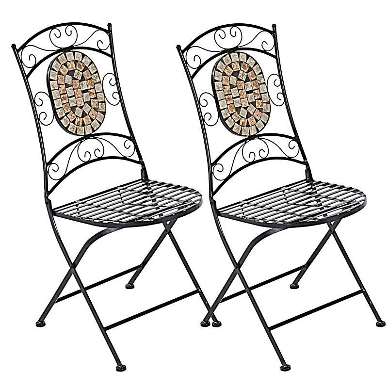 gartenstuhlset kemo metall mit mosaik steinen 2 tlg. Black Bedroom Furniture Sets. Home Design Ideas