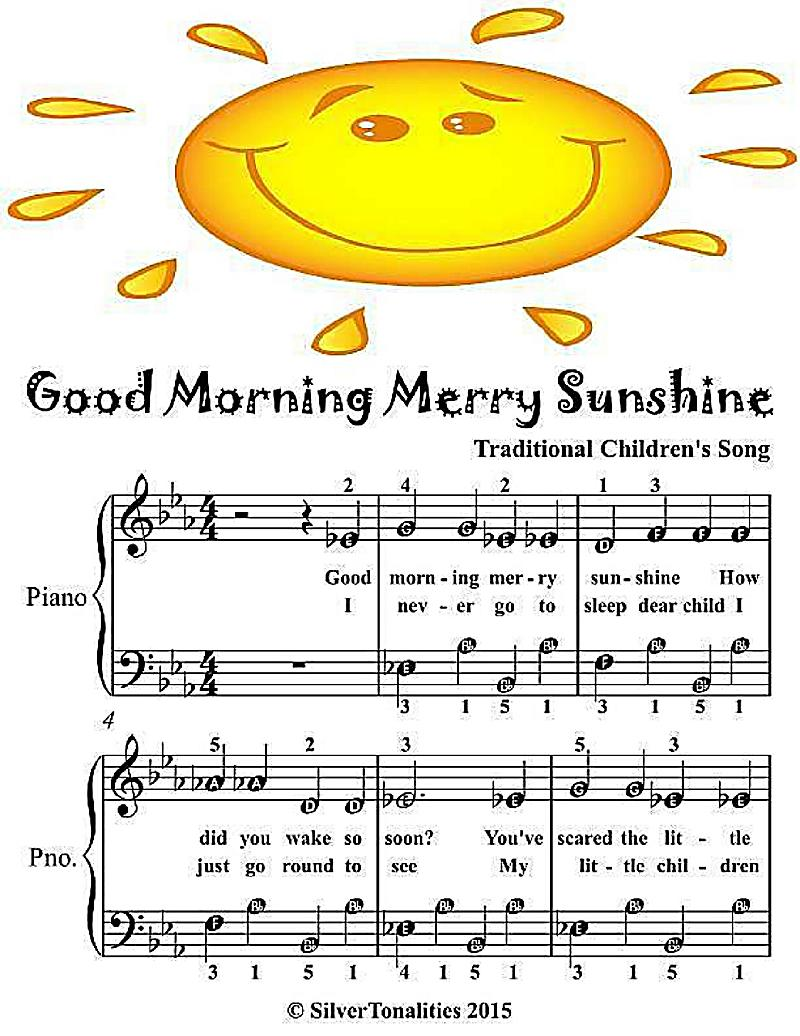 Good Morning Sunshine Letter : Good morning merry sunshine easiest piano sheet music