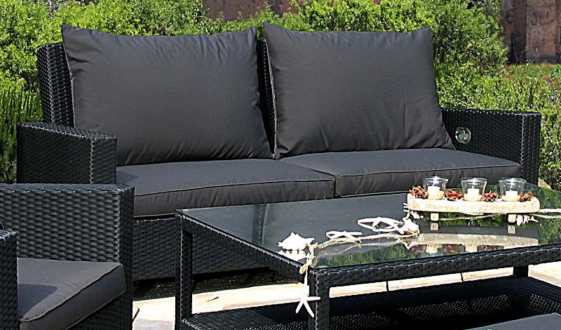 grasekamp rattan lounge 2er garten sofa schwarz anthrazit. Black Bedroom Furniture Sets. Home Design Ideas