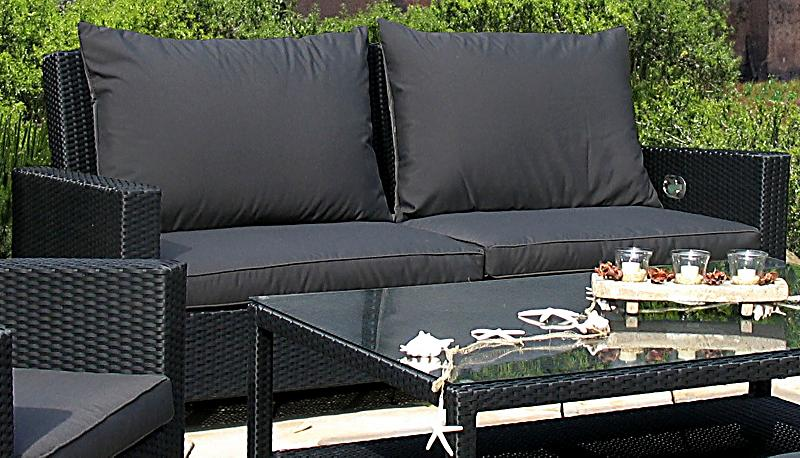 grasekamp rattan lounge 3er garten sofa schwarz anthrazit. Black Bedroom Furniture Sets. Home Design Ideas