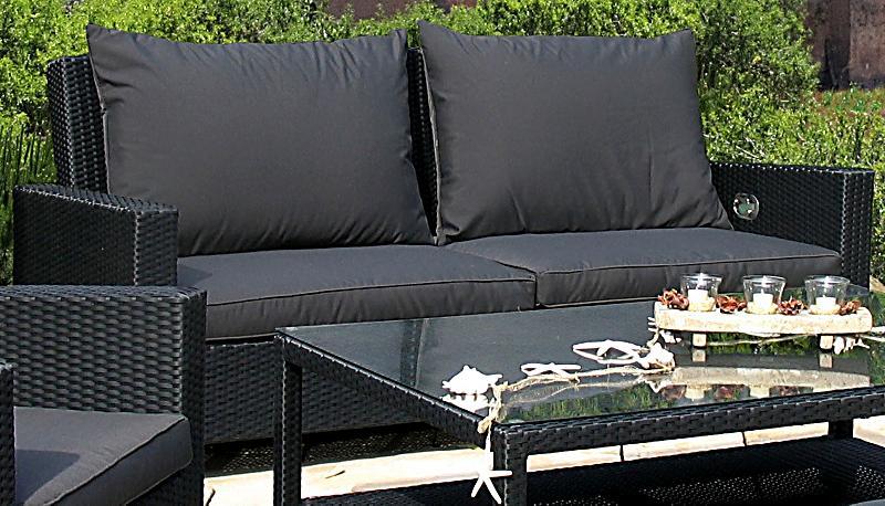 Grasekamp rattan lounge 3er garten sofa schwarz anthrazit for Garten steine schwarz