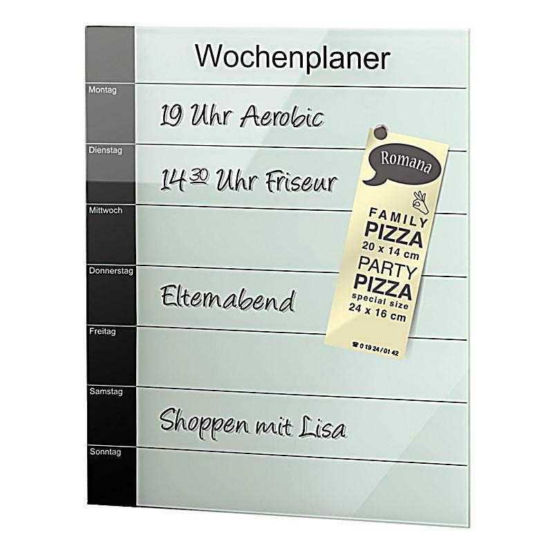 Hama Glas-Magnetboard Belmuro, mit Wochenplaner, 41 x 52 cm, Schwarz Weiss | Weltbild.ch
