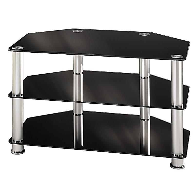 hama tv rack 1000 mm drei ablagen alu schwarz. Black Bedroom Furniture Sets. Home Design Ideas