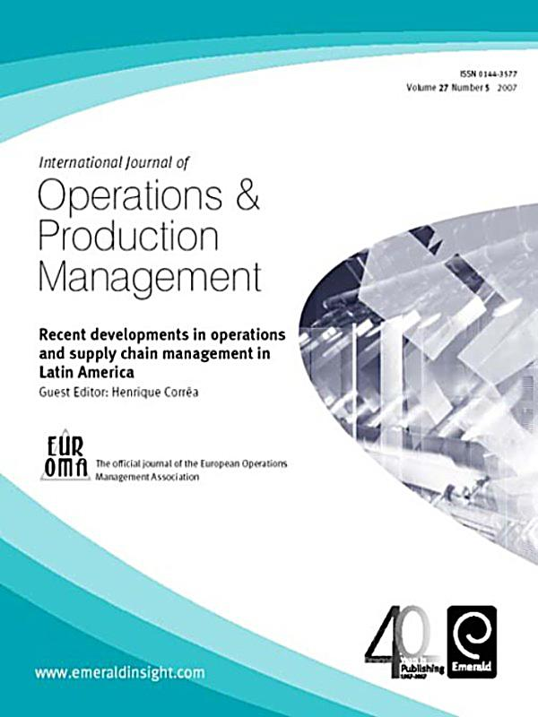 journal of operations management 20 Journal description the mission of the journal of operations management is to publish original, high-quality research papers in the field of operations management.
