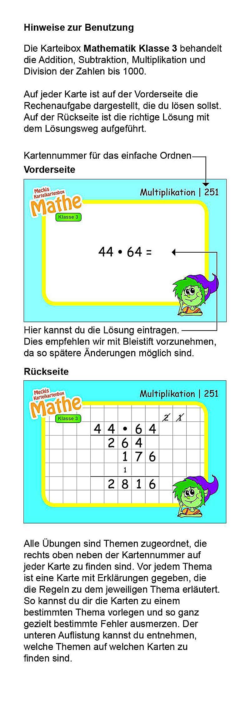Karteibox Mathe Klasse 3 Buch bei Weltbild.ch online bestellen