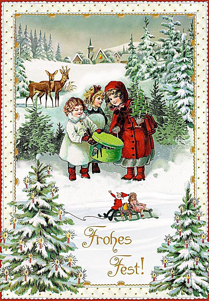 Karten set nostalgische weihnachtspost bestellen - Bilder weihnachtskarten ...