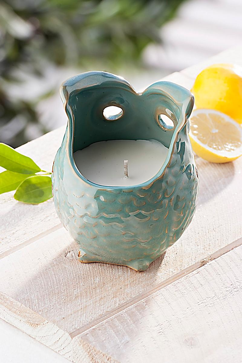keramik eule mit citronellawachs jetzt bei bestellen. Black Bedroom Furniture Sets. Home Design Ideas