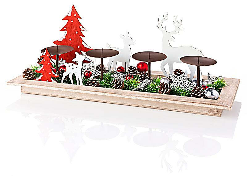 kerzenteller winterwald mit deko jetzt bei. Black Bedroom Furniture Sets. Home Design Ideas