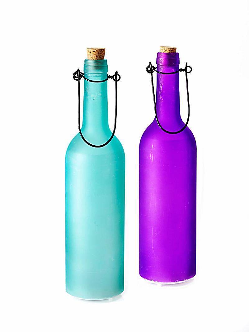 led flaschenleuchten 2er set blau violett. Black Bedroom Furniture Sets. Home Design Ideas