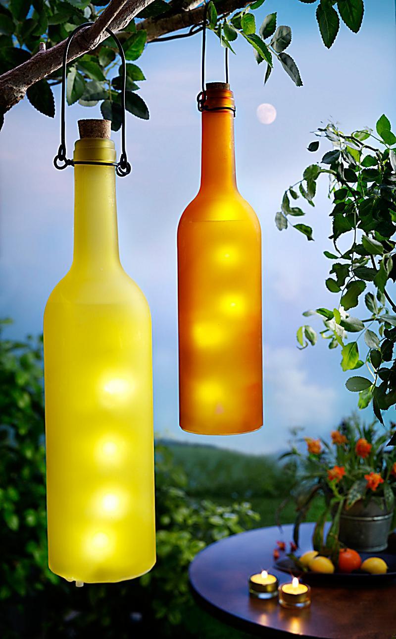 led flaschenleuchten 2er set gelb orange. Black Bedroom Furniture Sets. Home Design Ideas