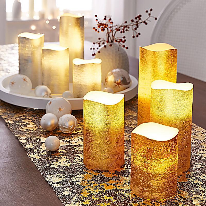 led kerzen set 4 tlg goldfarben jetzt bei bestellen. Black Bedroom Furniture Sets. Home Design Ideas