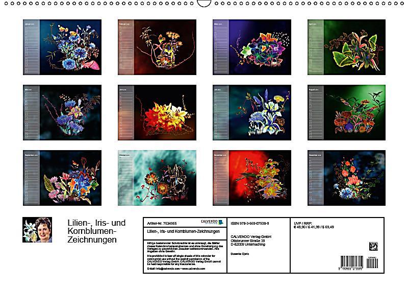 lilien iris und kornblumen zeichnungen wandkalender. Black Bedroom Furniture Sets. Home Design Ideas