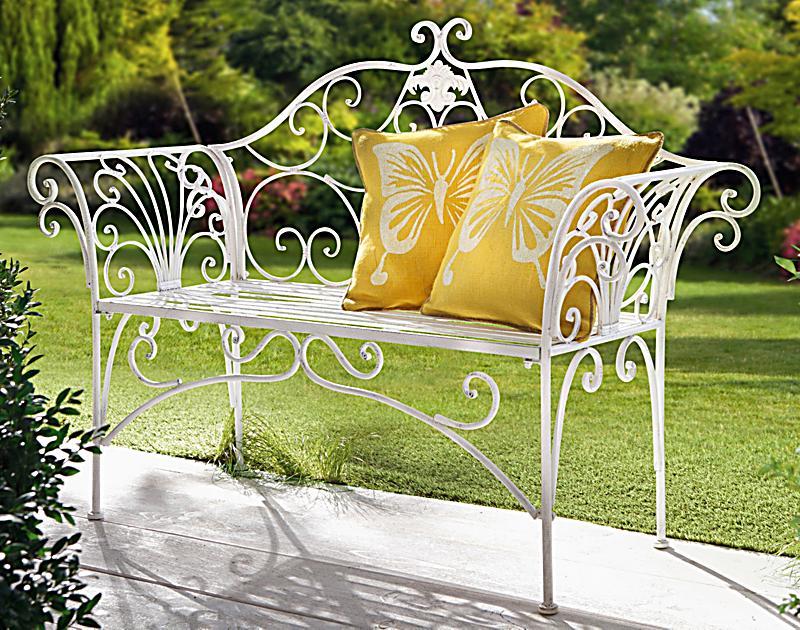 metall gartenbank romantik farbe wei bestellen. Black Bedroom Furniture Sets. Home Design Ideas