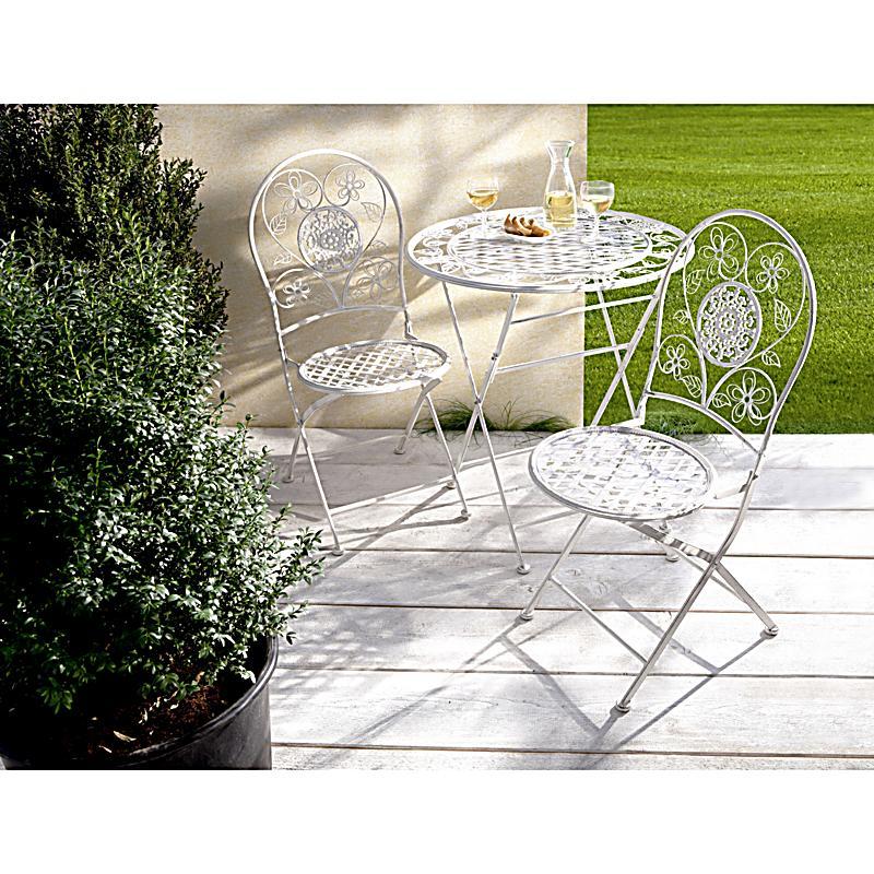 metall gartenm bel romantik 3er set farbe weiss. Black Bedroom Furniture Sets. Home Design Ideas