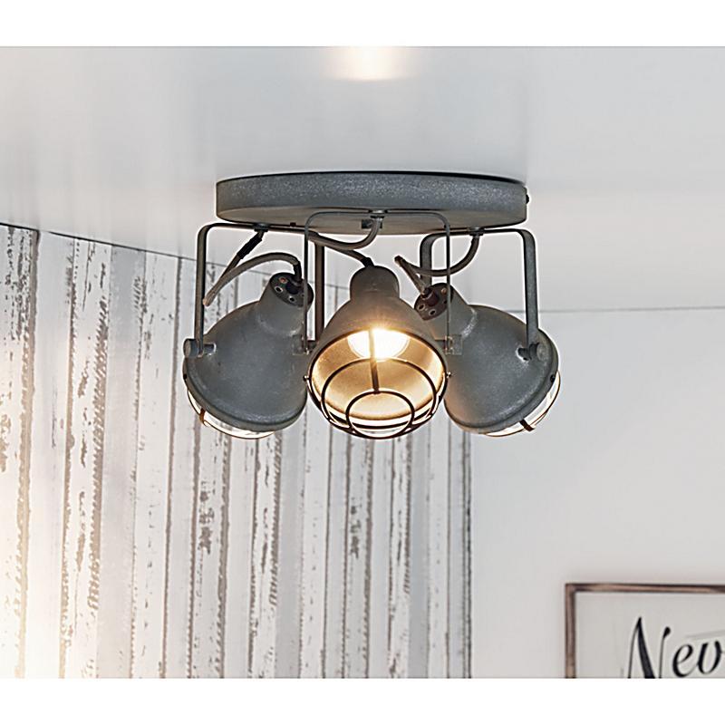 miavilla deckenleuchte industrial 3 grau metallic. Black Bedroom Furniture Sets. Home Design Ideas