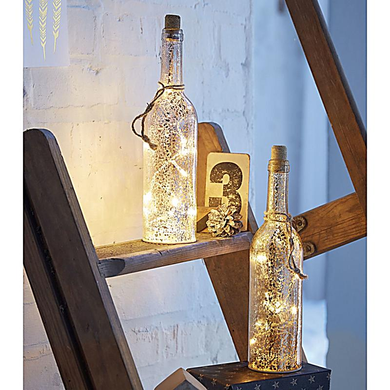 miavilla led dekoleuchte 2er set bottle silberfarben. Black Bedroom Furniture Sets. Home Design Ideas