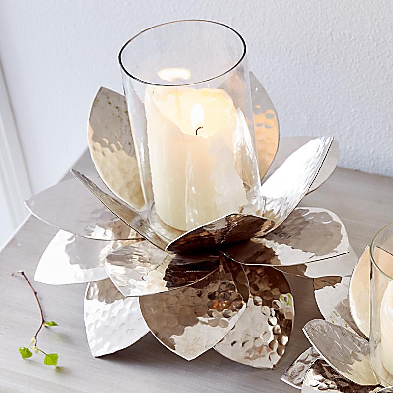Miavilla Windlicht Lotus Silberfarben Gro