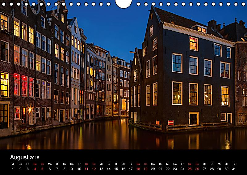 nacht ber amsterdam wandkalender 2018 din a4 quer kalender bestellen. Black Bedroom Furniture Sets. Home Design Ideas