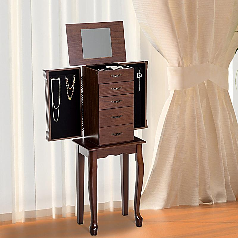 schmuckschrank mit spiegel farbe braun bestellen. Black Bedroom Furniture Sets. Home Design Ideas
