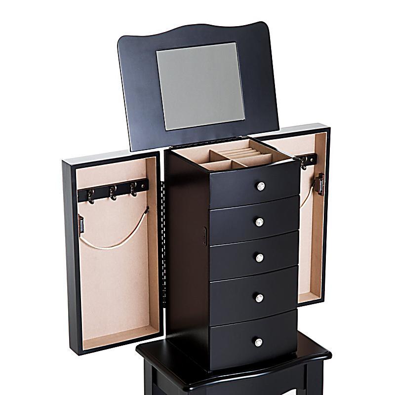 schmuckschrank mit spiegel farbe schwarz bestellen. Black Bedroom Furniture Sets. Home Design Ideas