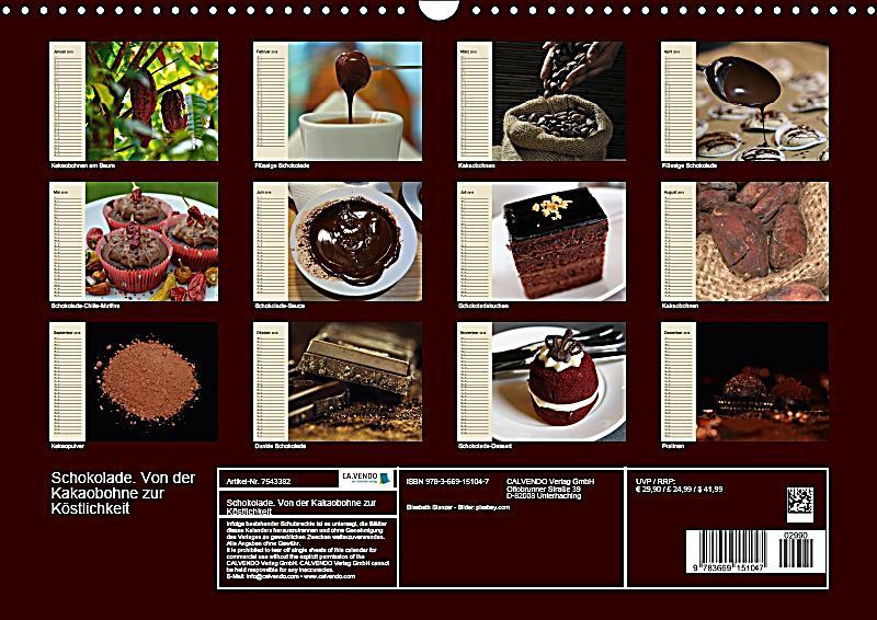 schokolade von der kakaobohne zur k stlichkeit wandkalender 2018 din a3 quer dieser. Black Bedroom Furniture Sets. Home Design Ideas