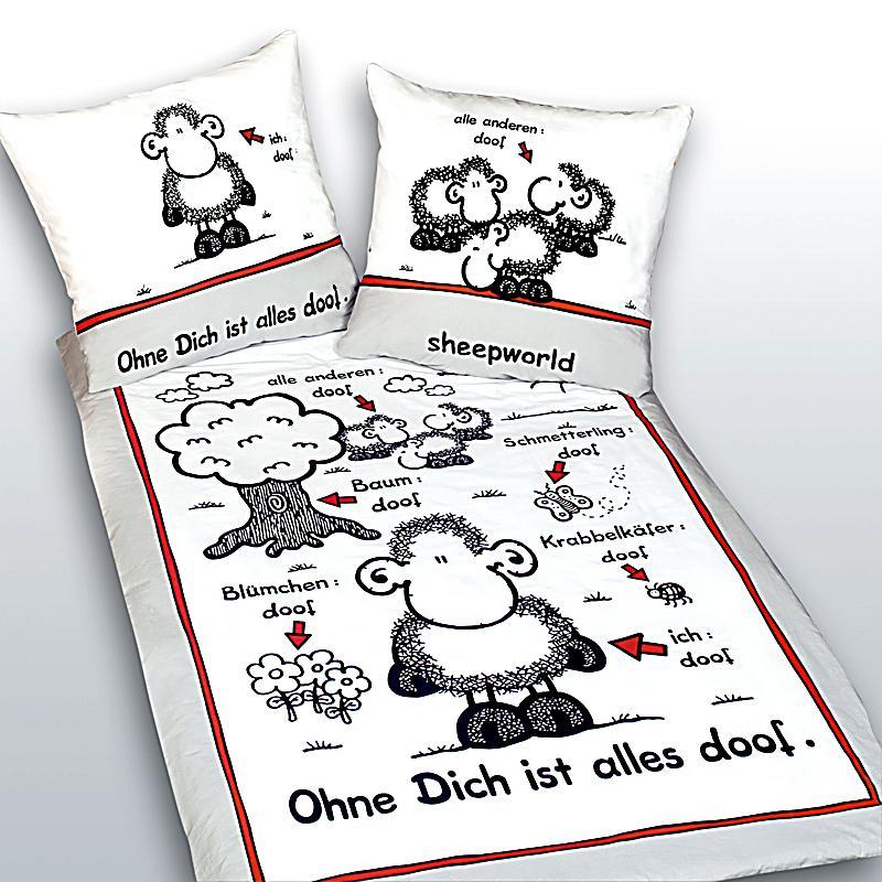 sheepworld bettw sche ohne dich ist alles doof gr e 135 x 200 cm. Black Bedroom Furniture Sets. Home Design Ideas