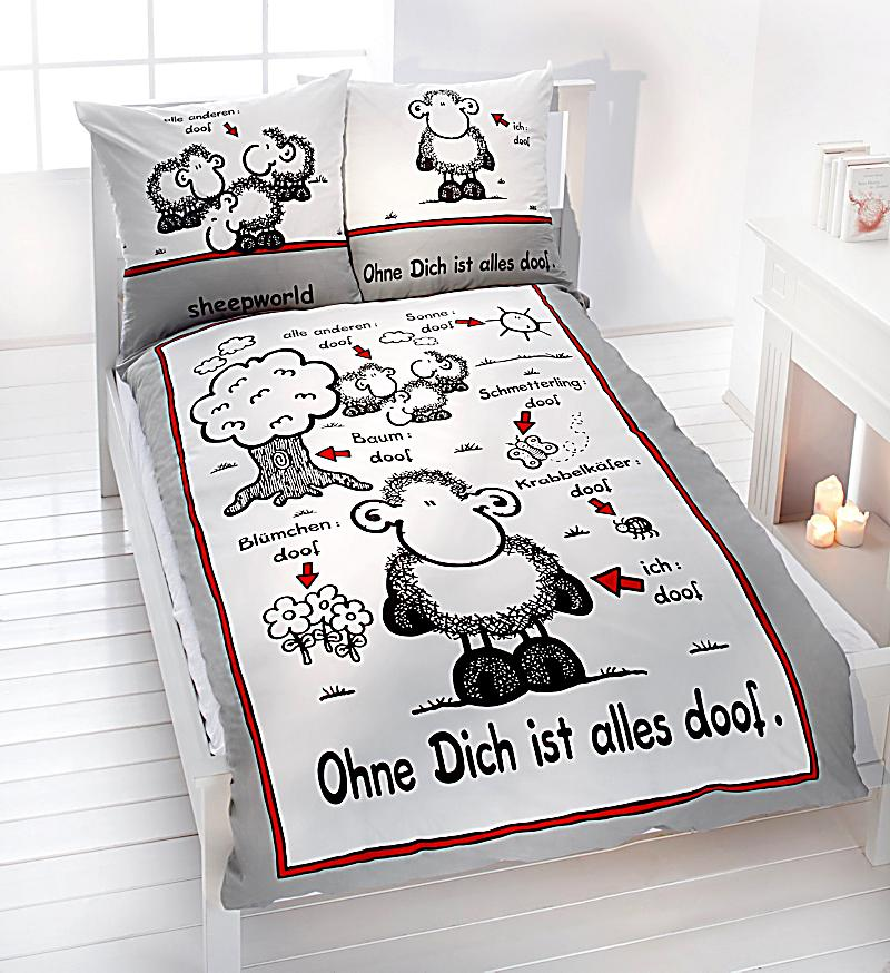 sheepworld bettw sche ohne dich ist alles doof gr e 135 x 200 cm. Black Bedroom Furniture Sets. Home Design Ideas
