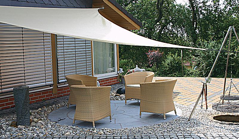 sonnensegel dreieck 5 x 5 x 5 m beige bestellen. Black Bedroom Furniture Sets. Home Design Ideas