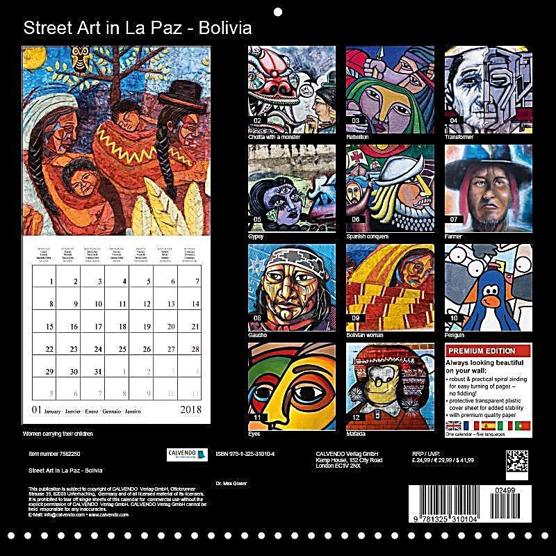 Art Calendar La : Street art in la paz bolivia wall calendar