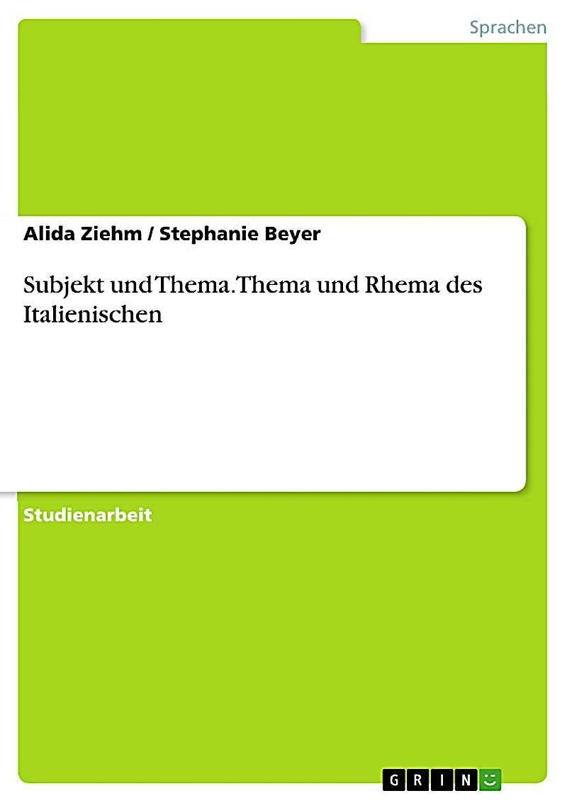 subjekt und thema thema und rhema des italienischen ebook