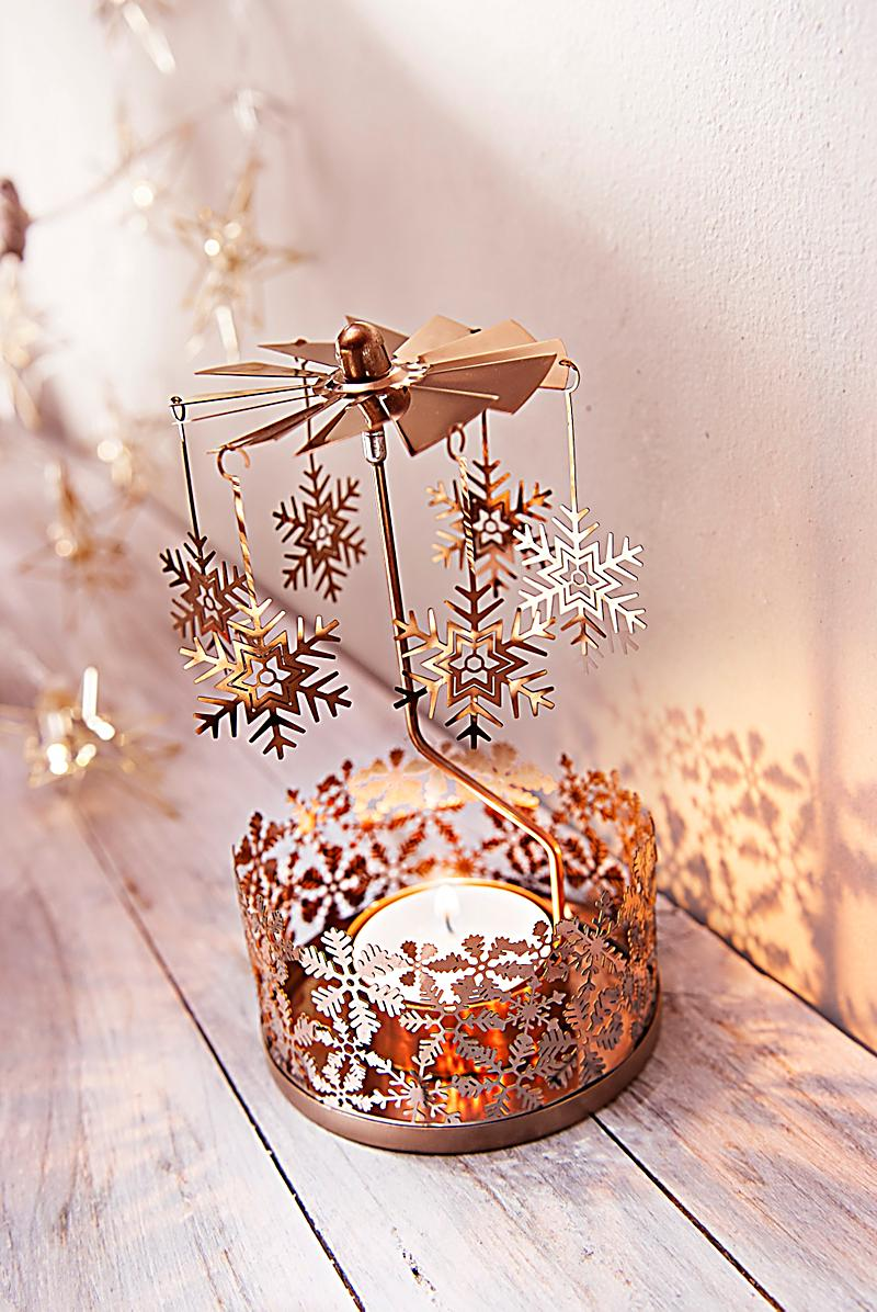 Teelicht karussell kupferfarben jetzt bei for Teelicht deko