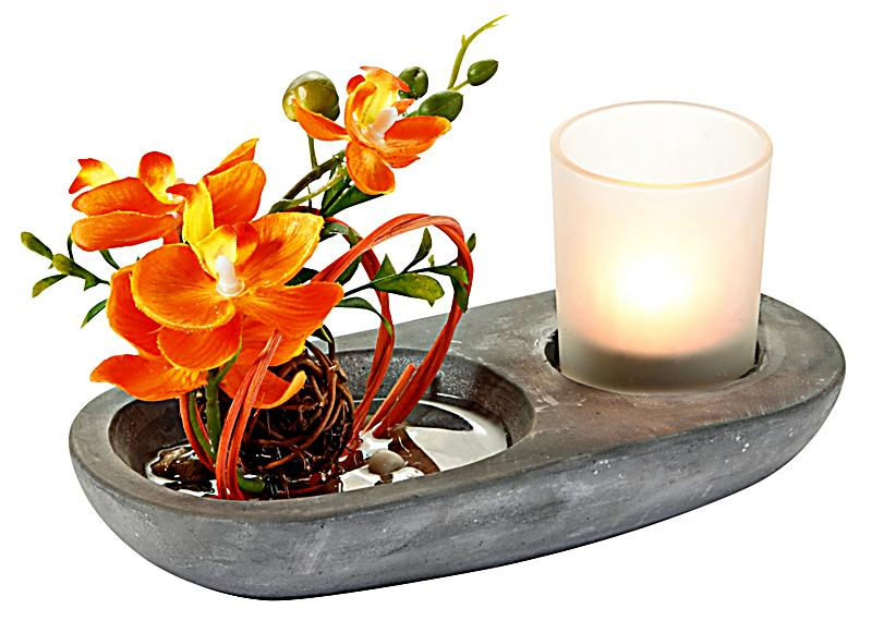 Teelichthalter mit Orchidee