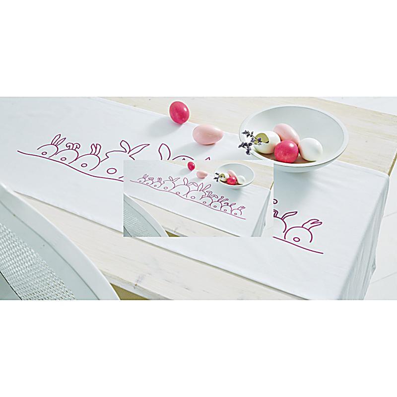 tischl ufer hasentreff weiss pink 45x250 bestellen. Black Bedroom Furniture Sets. Home Design Ideas
