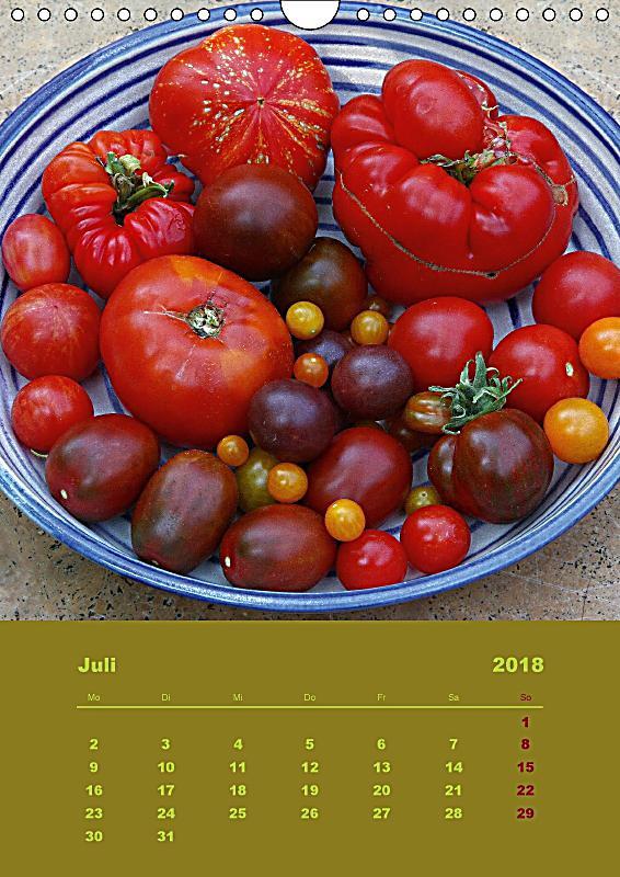 tomaten alles bio wandkalender 2018 din a4 hoch. Black Bedroom Furniture Sets. Home Design Ideas