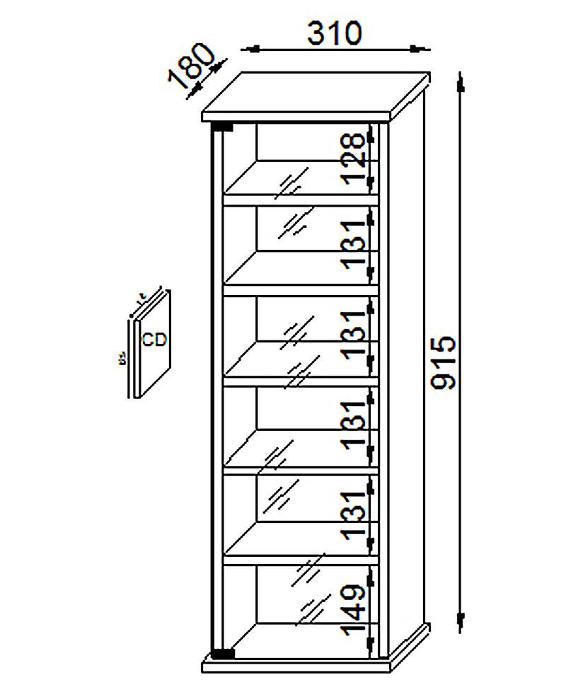 vcm cd dvd m bel vetro schrank regal farbe kern nussbaum. Black Bedroom Furniture Sets. Home Design Ideas