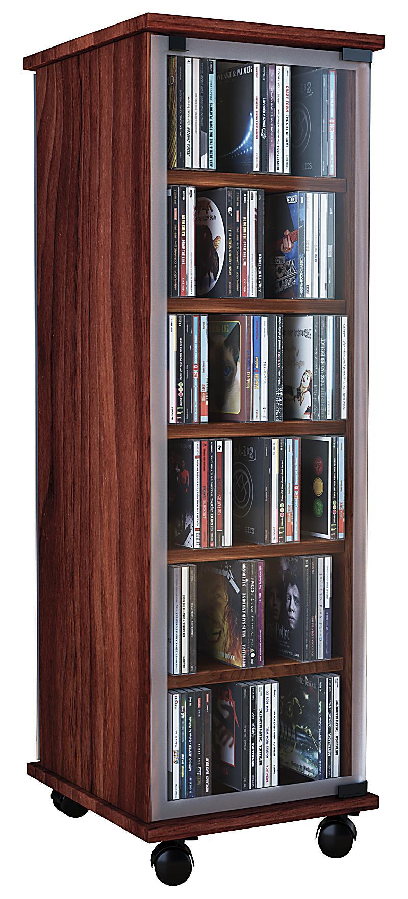 vcm cd dvd regal tower vitrine schrank mit rollen drehbar farbwahl valenza farbe kern nussbaum
