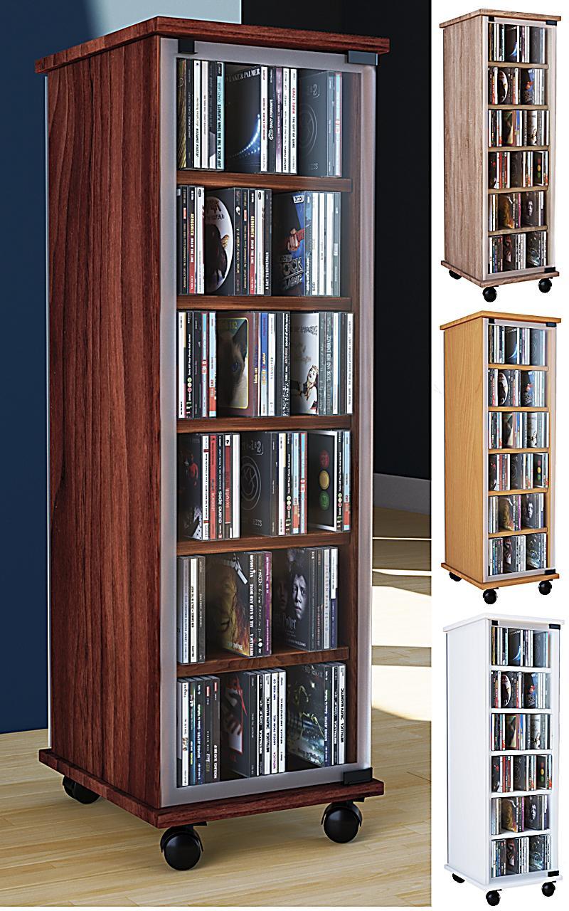 vcm cd dvd regal tower vitrine schrank mit rollen drehbar farbwahl valenza farbe kern nussbaum. Black Bedroom Furniture Sets. Home Design Ideas