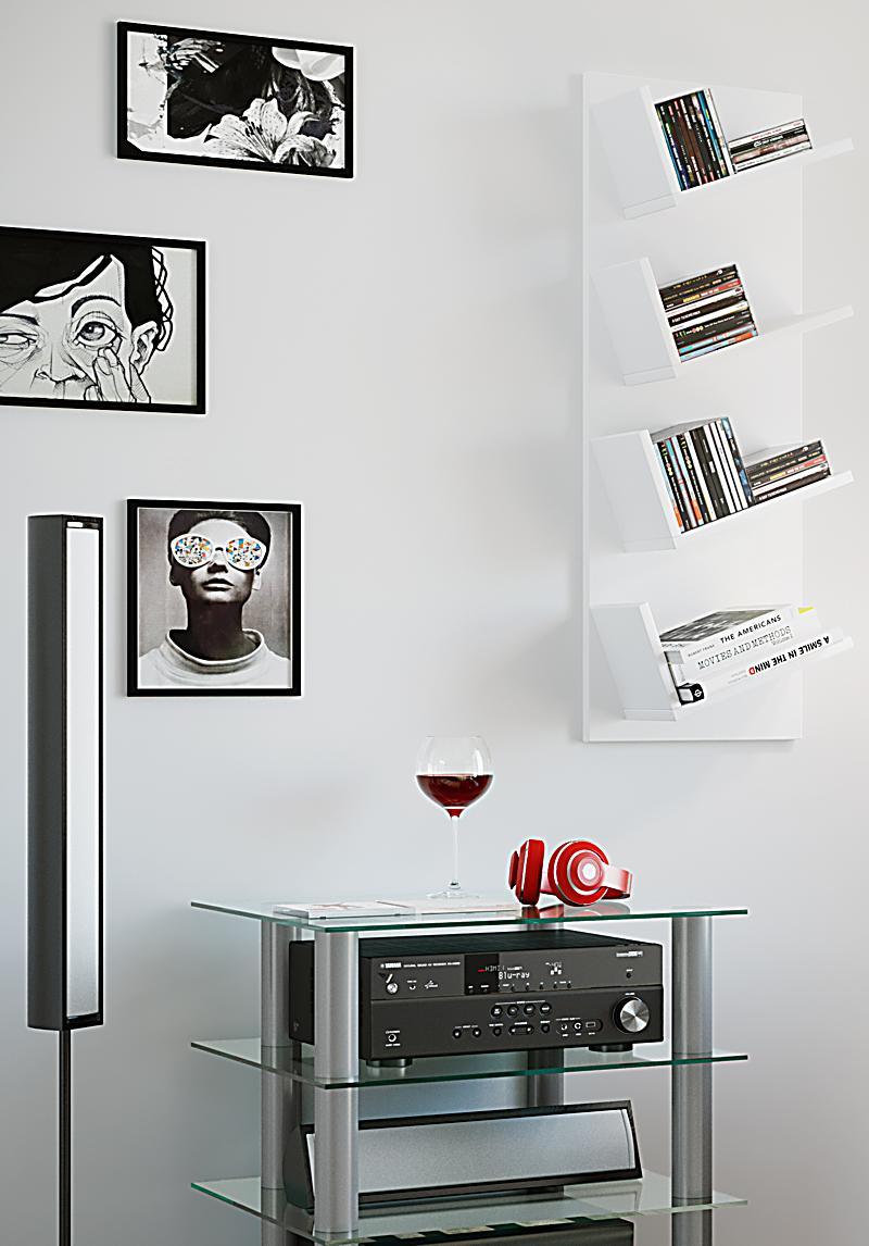 vcm design regal lansi m bel wandschrank f r cd dvd b cher farbe wei. Black Bedroom Furniture Sets. Home Design Ideas