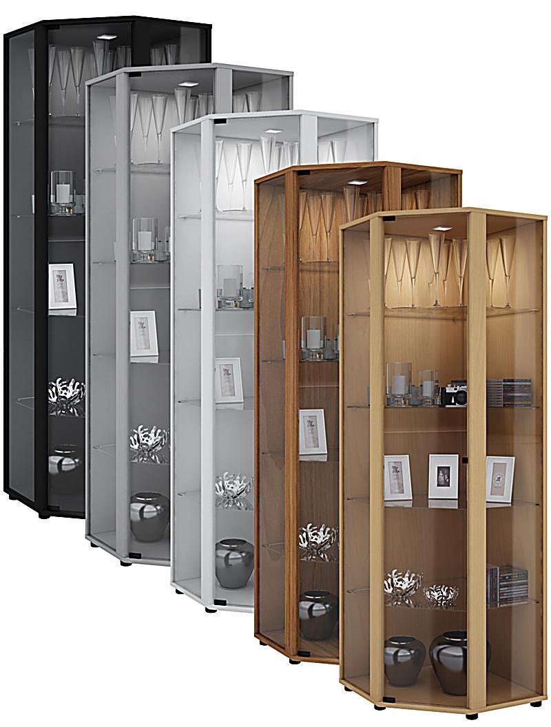 vcm eckvitrine glasvitrine standvitrine schaukasten. Black Bedroom Furniture Sets. Home Design Ideas
