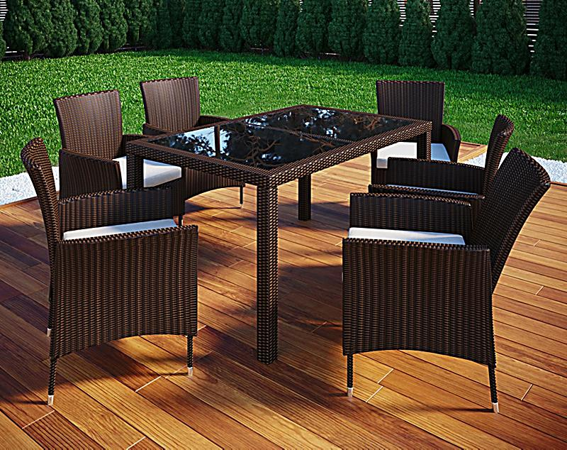 vcm polyrattan 140x90 gartenm bel essgruppe sitzgruppe glas rattanm bel gartenset farbe 6. Black Bedroom Furniture Sets. Home Design Ideas