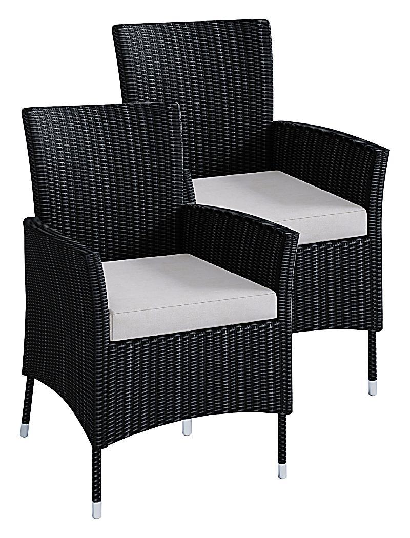 Entzuckend VCM Polyrattan Stuhl Stühle Rattan Gartenstühle Sessel Gartensessel Schwarz  VCM Rattanstuhl Schwarz (Farbe: 2x