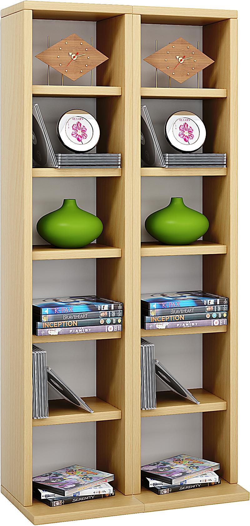 vcm regal dvd cd rack m bel aufbewahrung holzregal standregal m bel anbauprogramm milano farbe. Black Bedroom Furniture Sets. Home Design Ideas