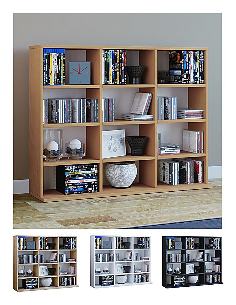 vcm regal standregal medienregal regalwand b cherregal cd dvd ablage aufbewahrung holz. Black Bedroom Furniture Sets. Home Design Ideas